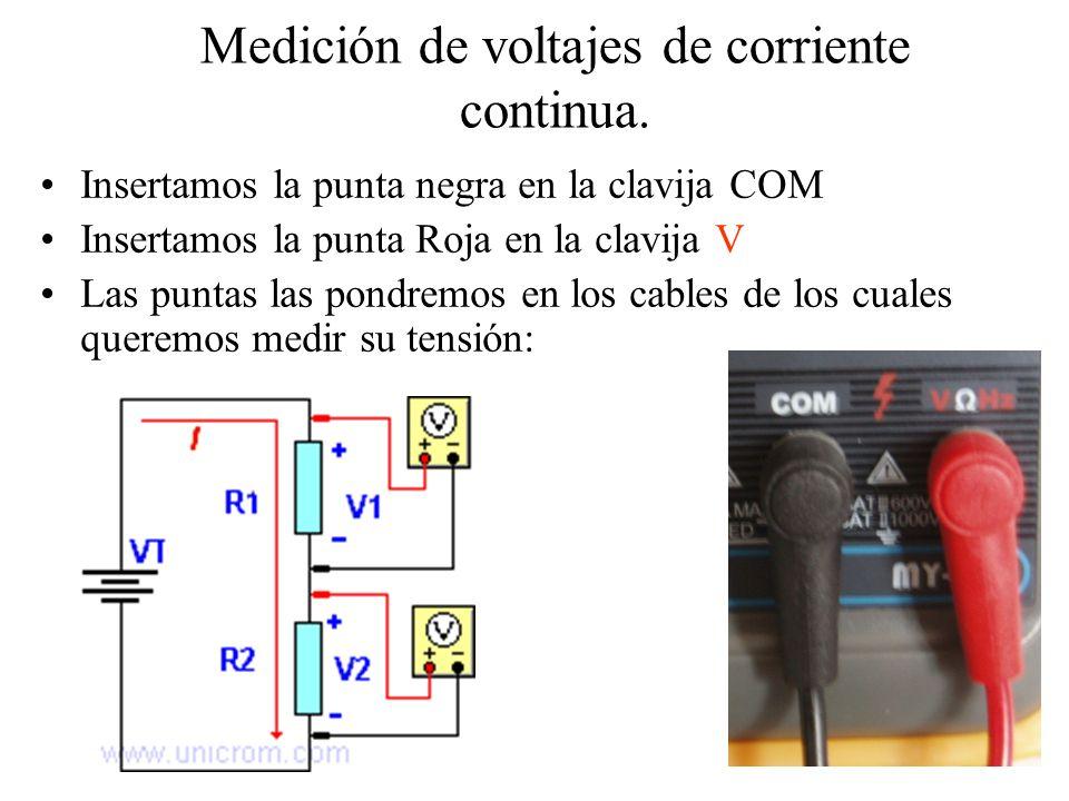 Medición de voltajes de corriente Alterna En el selector del medidor nos fijamos en la zona donde se mide la corriente alterna: V/\/\ AC