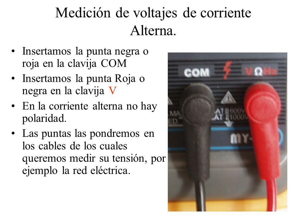 Medición de voltajes de corriente Alterna.