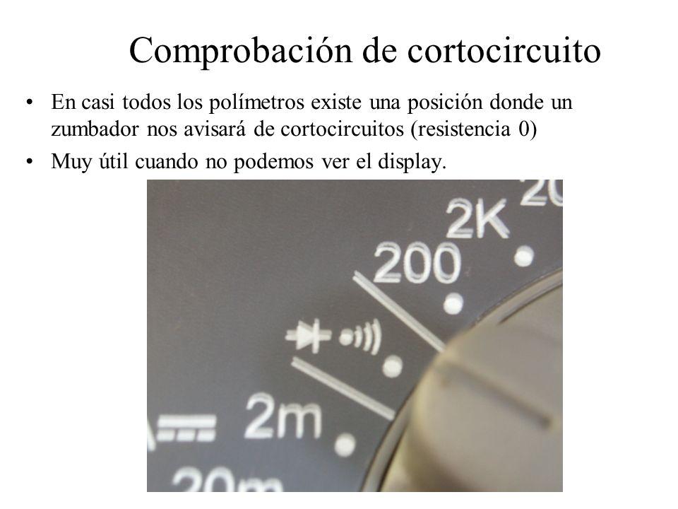 Comprobación de cortocircuito En casi todos los polímetros existe una posición donde un zumbador nos avisará de cortocircuitos (resistencia 0) Muy úti