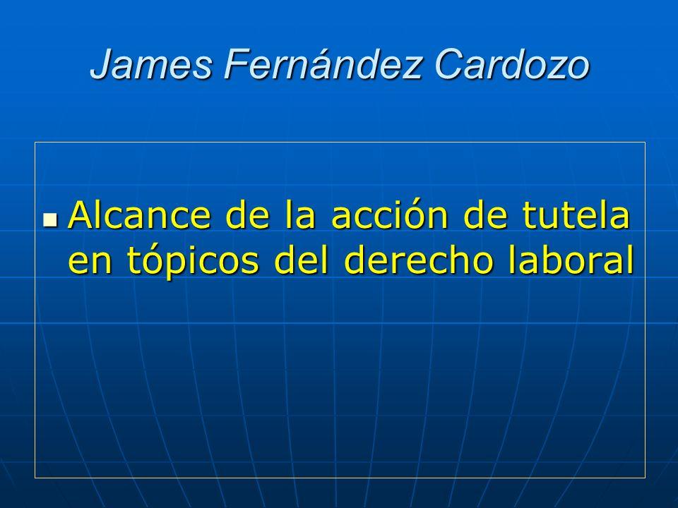 James Fernández Cardozo Alcance de la acción de tutela en tópicos del derecho laboral Alcance de la acción de tutela en tópicos del derecho laboral