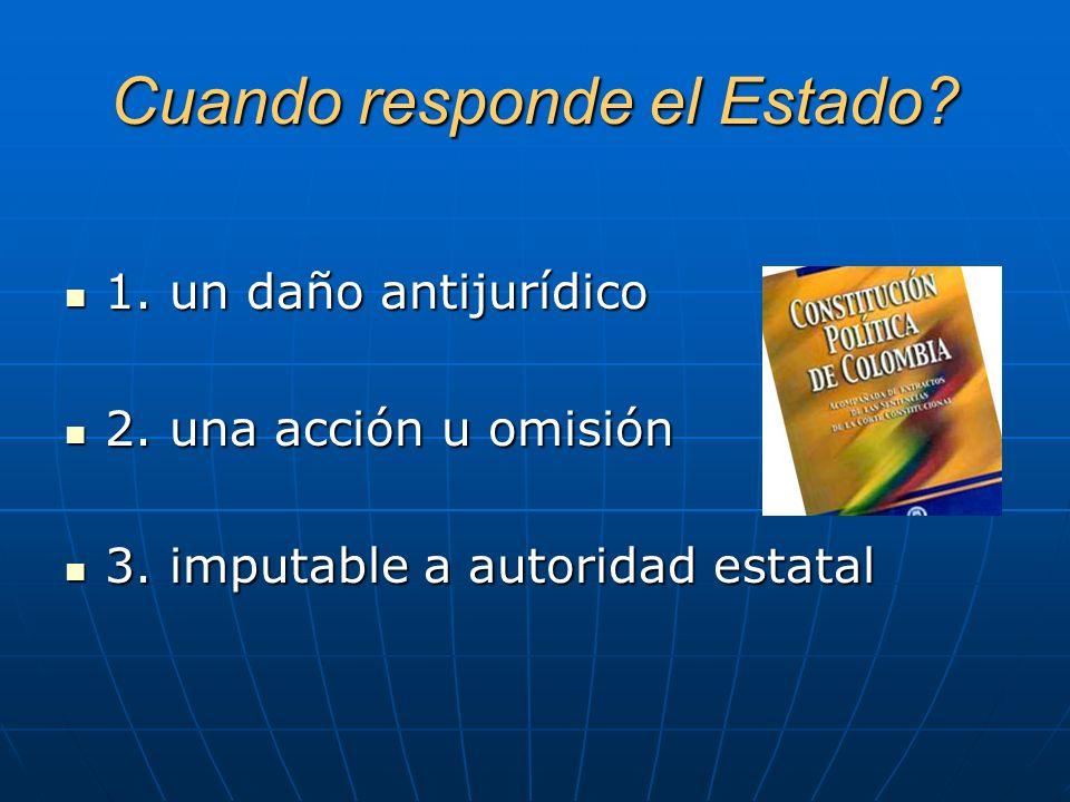 Base constitucional artículo 90: El Estado responderá patrimonialmente por los daños antijurídicos causados por la acción u omisión de las autoridades