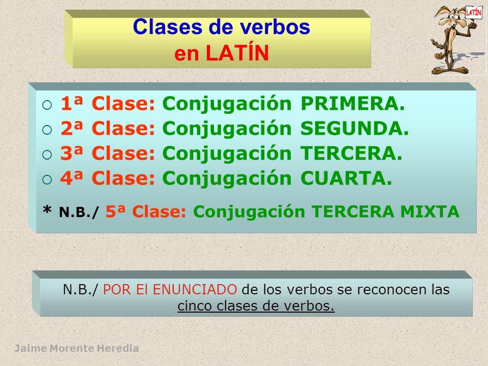 Jaime Morente Heredia Clases de verbos en LATÍN 1ª Clase: Conjugación PRIMERA.