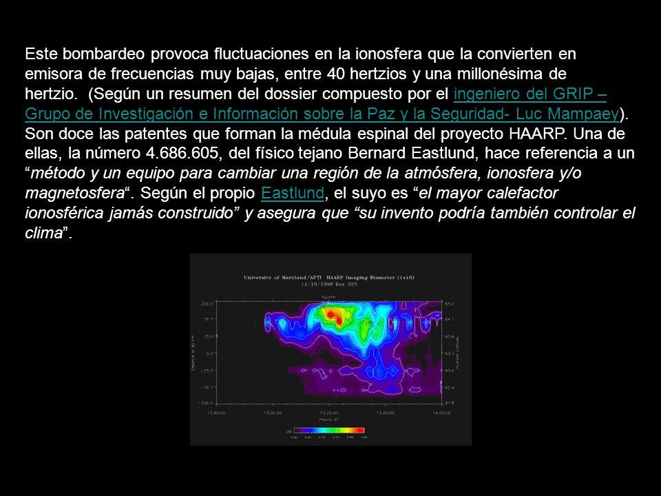 Este bombardeo provoca fluctuaciones en la ionosfera que la convierten en emisora de frecuencias muy bajas, entre 40 hertzios y una millonésima de hertzio.