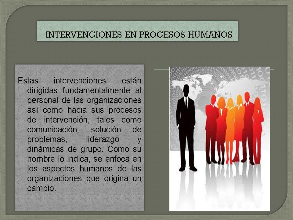 Estas intervenciones están orientadas hacia la tecnología y estructuras de las organizaciones para ligarlas con el personal.