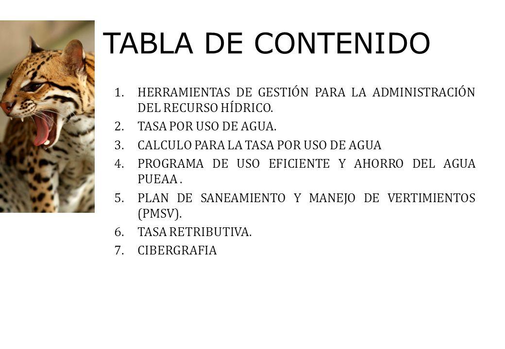 TABLA DE CONTENIDO 1.HERRAMIENTAS DE GESTIÓN PARA LA ADMINISTRACIÓN DEL RECURSO HÍDRICO. 2.TASA POR USO DE AGUA. 3.CALCULO PARA LA TASA POR USO DE AGU