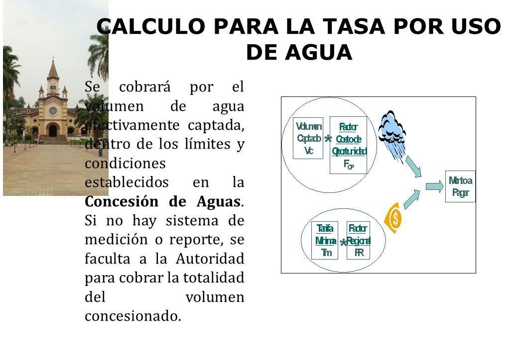CALCULO PARA LA TASA POR USO DE AGUA Se cobrará por el volumen de agua efectivamente captada, dentro de los límites y condiciones establecidos en la C