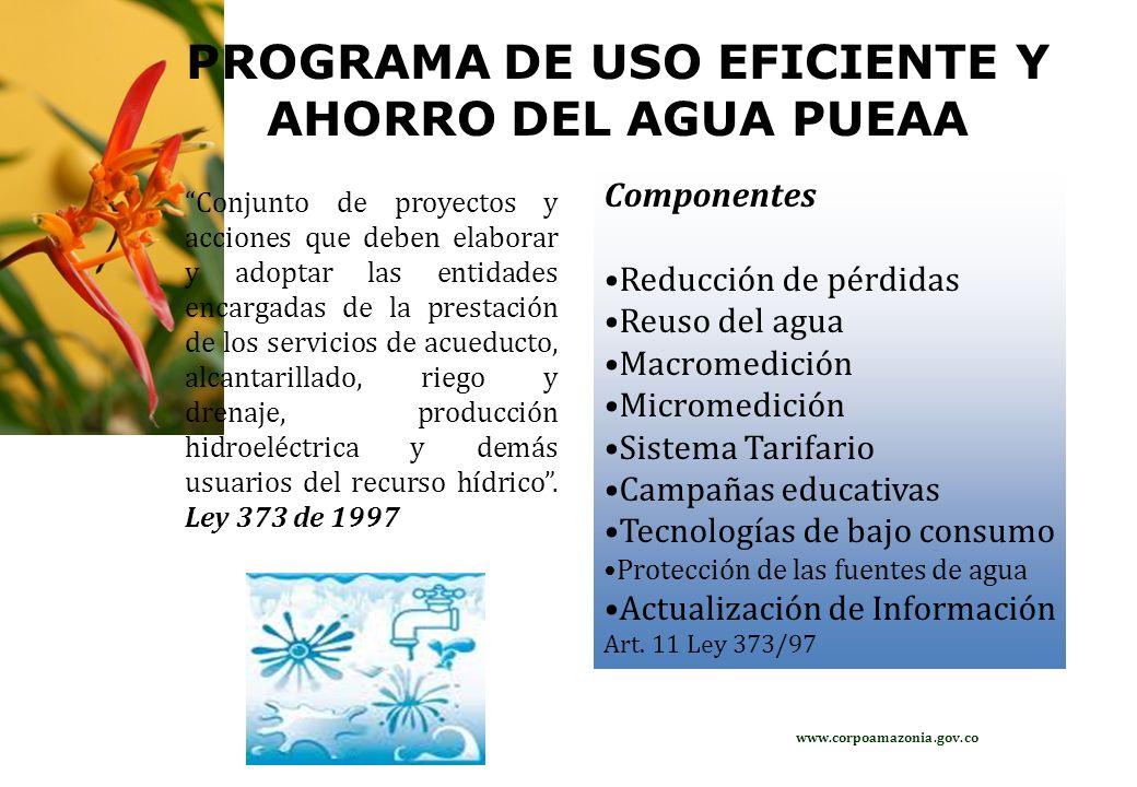 PROGRAMA DE USO EFICIENTE Y AHORRO DEL AGUA PUEAA Beneficios de Implementar un PUEAA 1.Balance entre el uso del recurso hídrico para la satisfacción de necesidades humanas y su valor en los ecosistemas (Uso Sostenible).