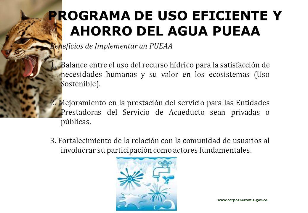 PROGRAMA DE USO EFICIENTE Y AHORRO DEL AGUA PUEAA Beneficios de Implementar un PUEAA 1.Balance entre el uso del recurso hídrico para la satisfacción d