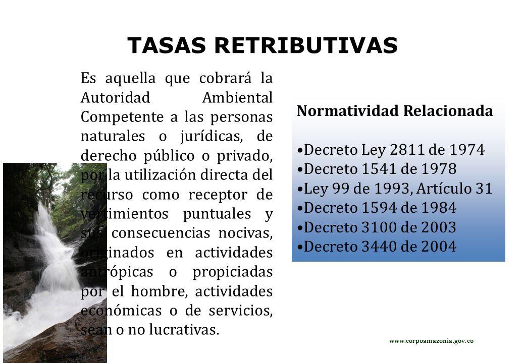 CALCULO PARA LA TASA RETRIBUTIVA TR=Cc*Tm*Fr*t Donde: TR= Tasa Retributiva ($) Cc= Carga Contaminante (kg /día) Tm= Tarifa Minima ($/ kg) Fr= Factor Regional t=días a cobrar Cc=Q*C*0.0864.(t/24) Q= Caudal de descarga, (l/s) C= Concentración de: DBO5: Demanda Bioquímica de Oxigeno a los cinco días, (mg /l) SST: Sólidos Suspendidos Totales, (mg /l) 0.0864= Factor de Conversión (t/24)= Tiempo Efectivo de la Descarga www.corpoamazonia.gov.co