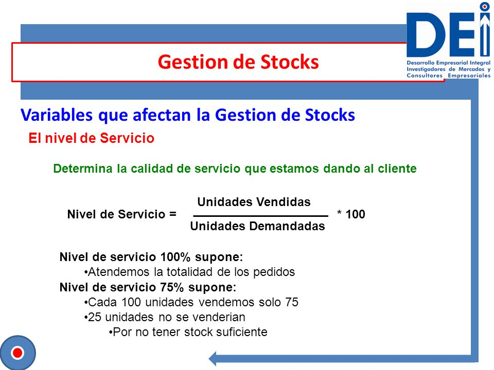 Gestion de Stocks Variables que afectan la Gestion de Stocks El nivel de Servicio Determina la calidad de servicio que estamos dando al cliente Nivel