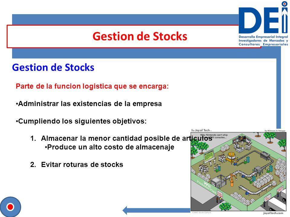 Gestion de Stocks Parte de la funcion logistica que se encarga: Administrar las existencias de la empresa Cumpliendo los siguientes objetivos: 1.Almac