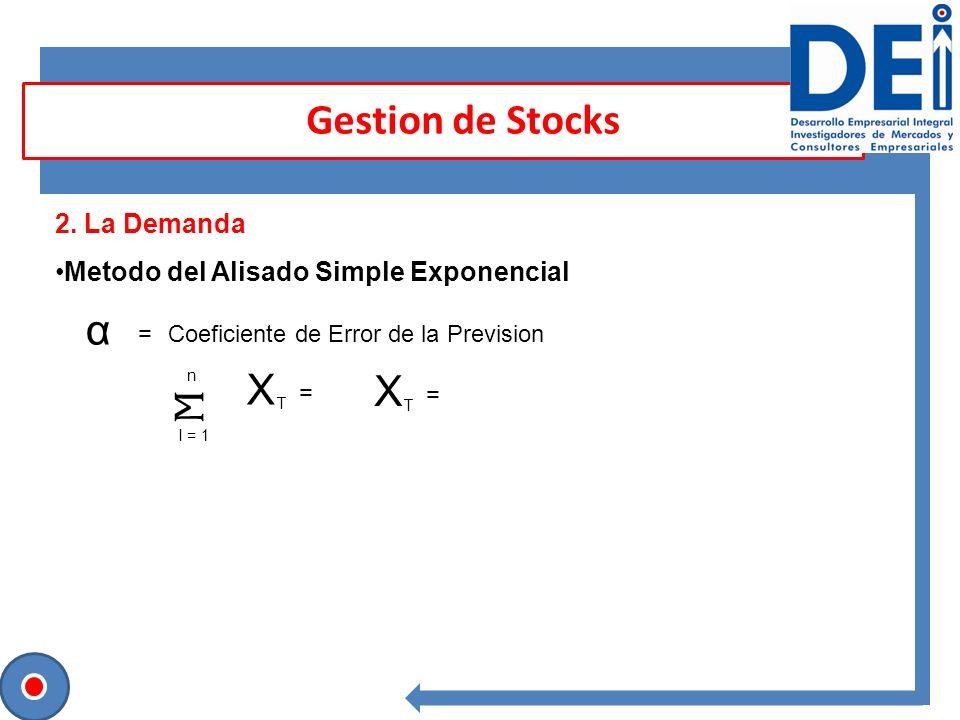 Gestion de Stocks 2. La Demanda Metodo del Alisado Simple Exponencial α =Coeficiente de Error de la Prevision X T = X T = I = 1 n