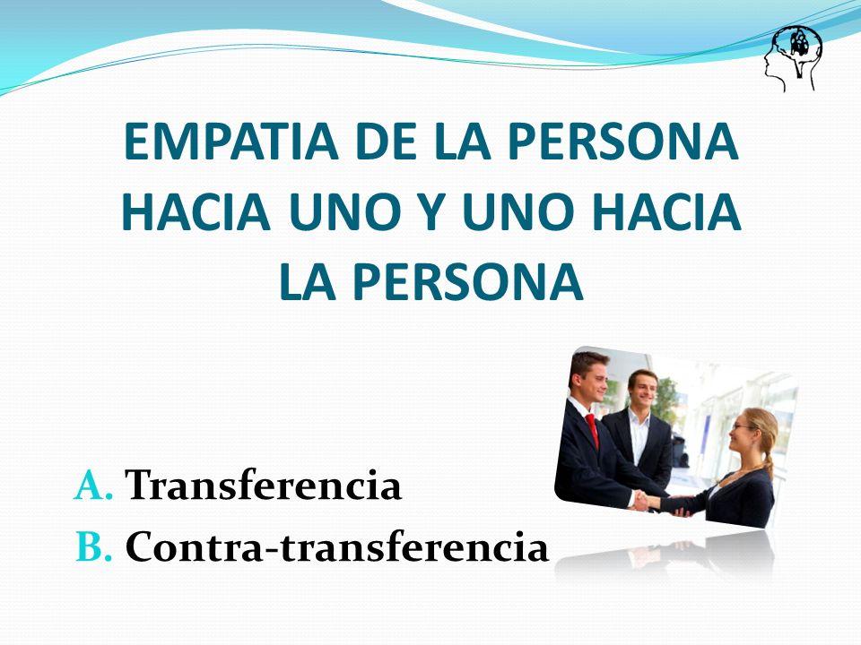 A. Transferencia B. Contra-transferencia EMPATIA DE LA PERSONA HACIA UNO Y UNO HACIA LA PERSONA