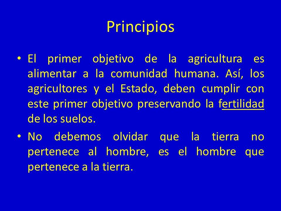 Principios El primer objetivo de la agricultura es alimentar a la comunidad humana. Así, los agricultores y el Estado, deben cumplir con este primer o