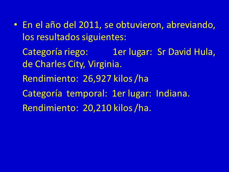 En el año del 2011, se obtuvieron, abreviando, los resultados siguientes: Categoría riego: 1er lugar: Sr David Hula, de Charles City, Virginia. Rendim
