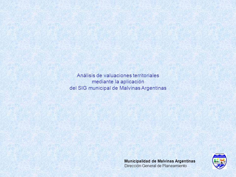 Municipalidad de Malvinas Argentinas Dirección General de Planeamiento Análisis de valuaciones territoriales mediante la aplicación del SIG municipal
