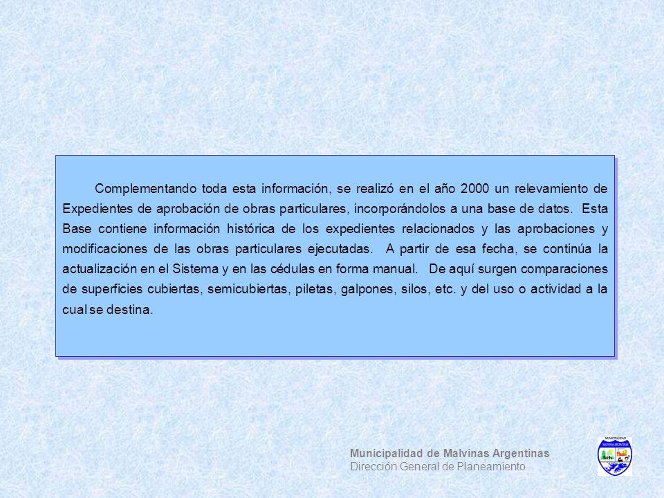 Municipalidad de Malvinas Argentinas Dirección General de Planeamiento Complementando toda esta información, se realizó en el año 2000 un relevamiento