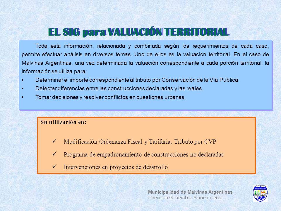 Su utilización en: Modificación Ordenanza Fiscal y Tarifaria, Tributo por CVP Programa de empadronamiento de construcciones no declaradas Intervencion
