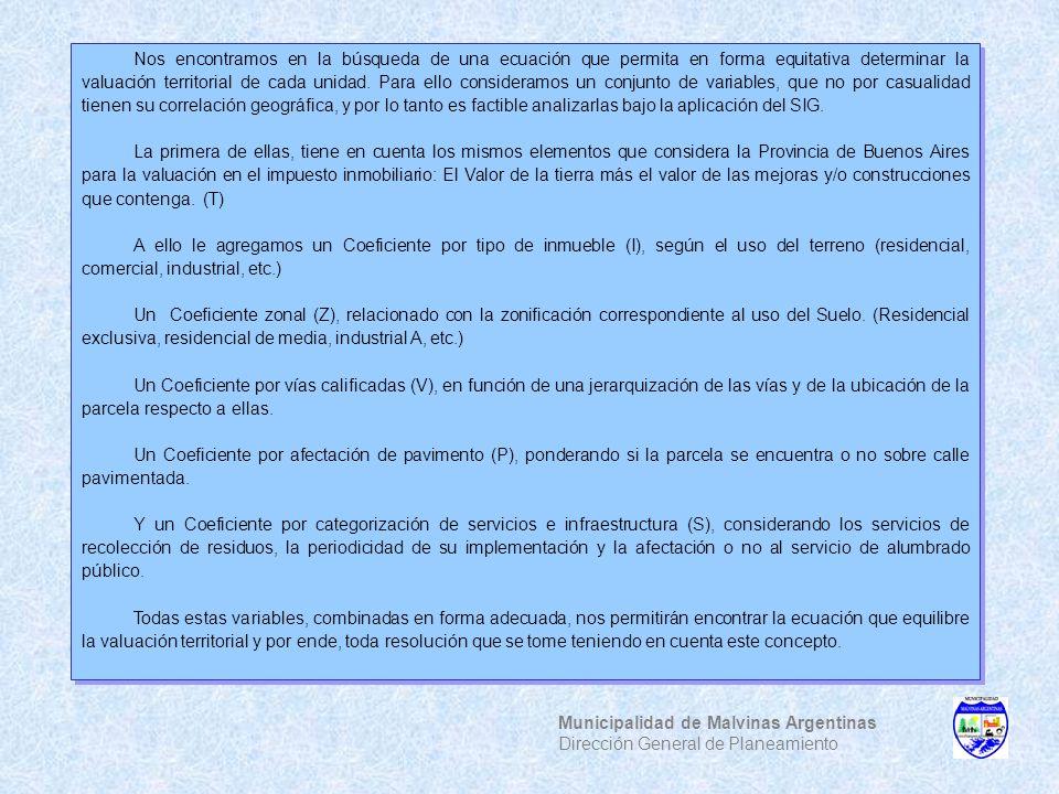 Municipalidad de Malvinas Argentinas Dirección General de Planeamiento Nos encontramos en la búsqueda de una ecuación que permita en forma equitativa