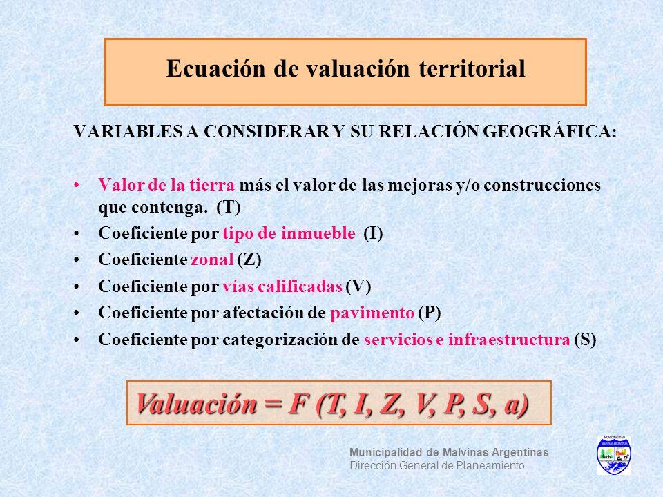 Ecuación de valuación territorial VARIABLES A CONSIDERAR Y SU RELACIÓN GEOGRÁFICA: Valor de la tierra más el valor de las mejoras y/o construcciones q