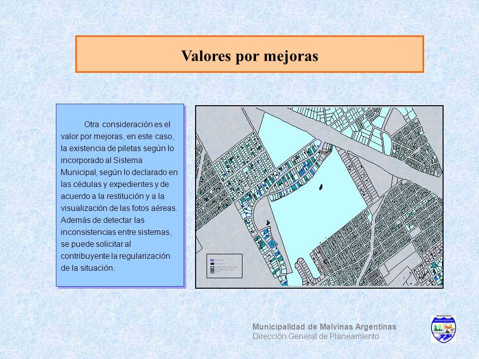 Valores por mejoras Municipalidad de Malvinas Argentinas Dirección General de Planeamiento Otra consideración es el valor por mejoras, en este caso, l