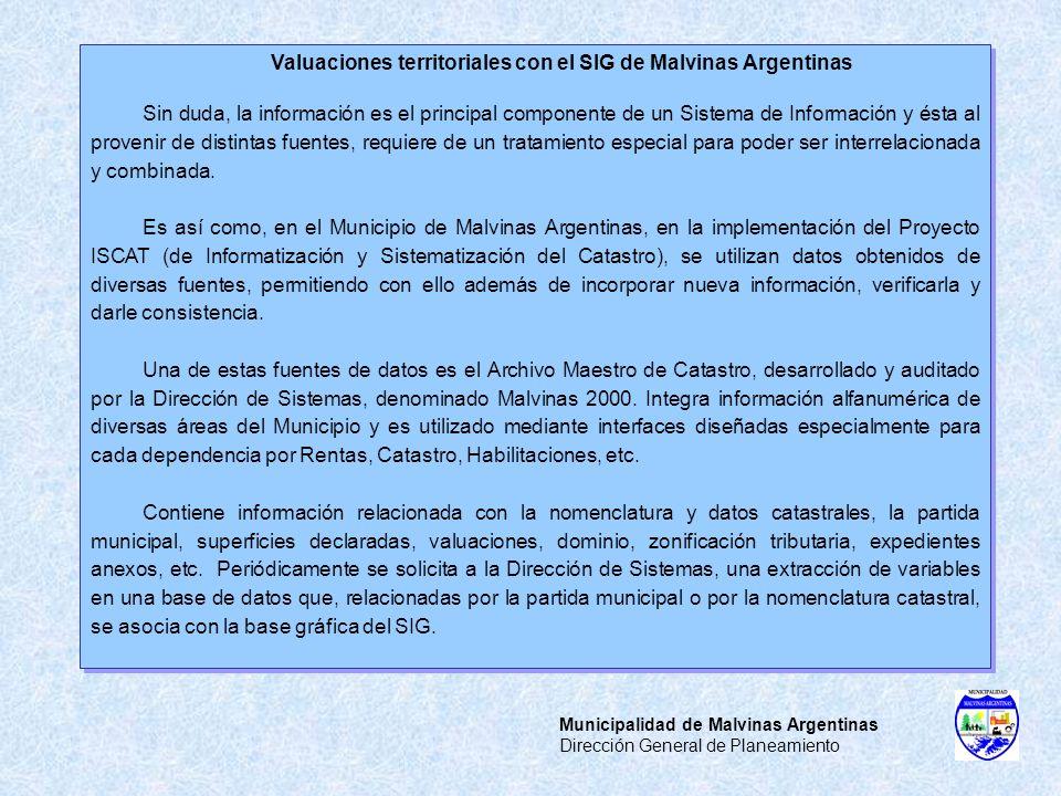 Municipalidad de Malvinas Argentinas Dirección General de Planeamiento Valuaciones territoriales con el SIG de Malvinas Argentinas Sin duda, la inform