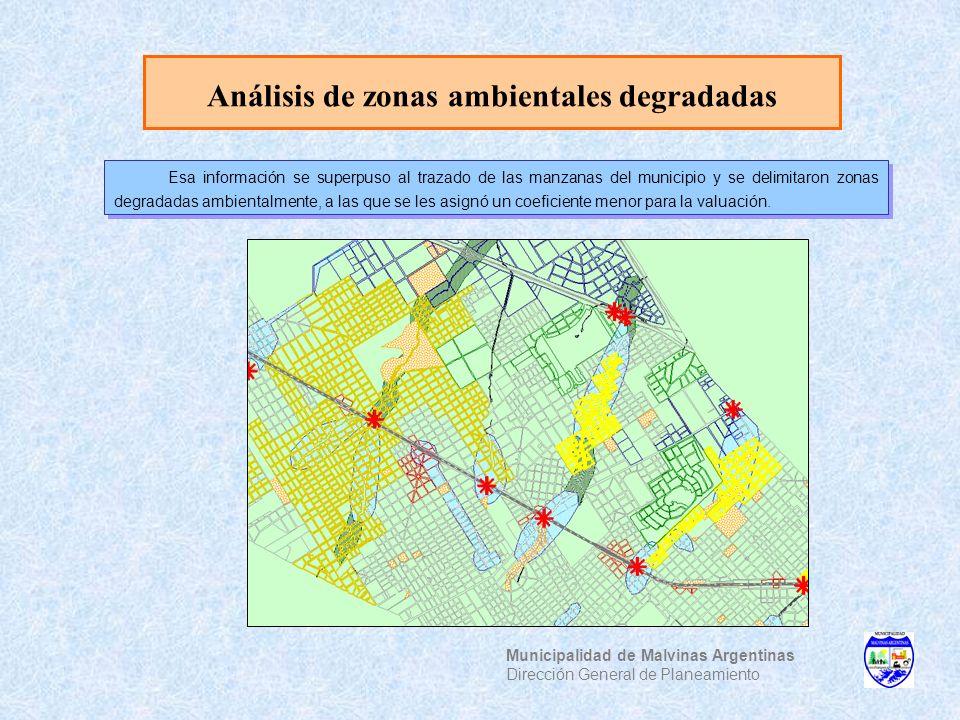 Análisis de zonas ambientales degradadas Municipalidad de Malvinas Argentinas Dirección General de Planeamiento Esa información se superpuso al trazad