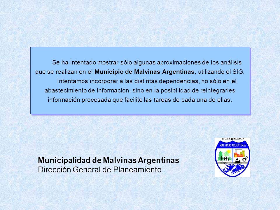 Municipalidad de Malvinas Argentinas Dirección General de Planeamiento Se ha intentado mostrar sólo algunas aproximaciones de los análisis que se real