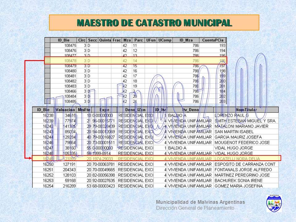 MAESTRO DE CATASTRO MUNICIPAL Municipalidad de Malvinas Argentinas Dirección General de Planeamiento