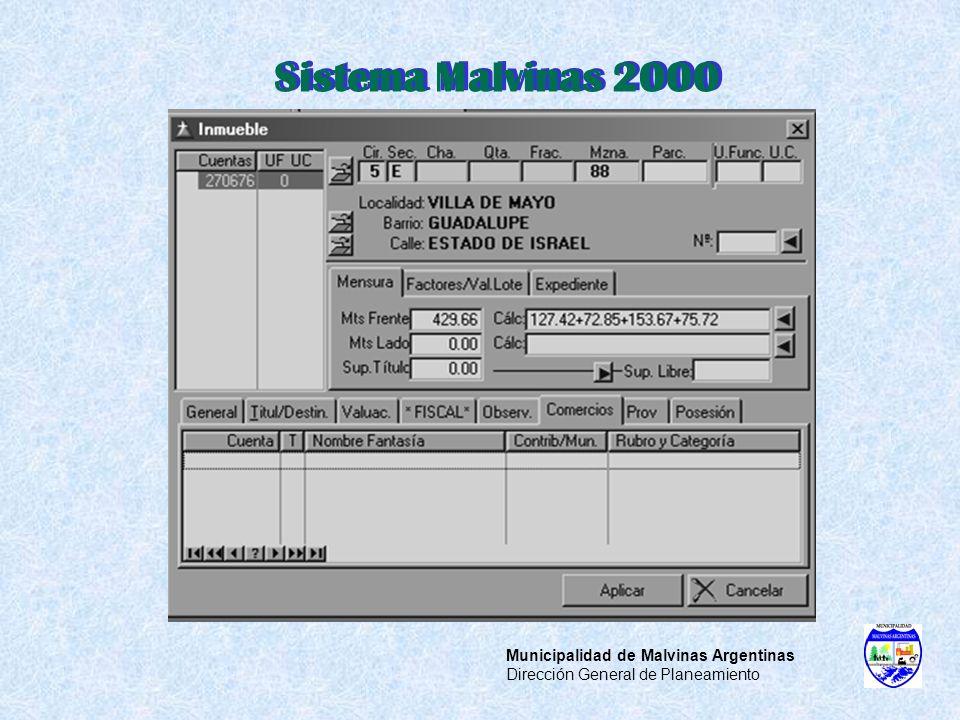 Sistema Malvinas 2000 Municipalidad de Malvinas Argentinas Dirección General de Planeamiento