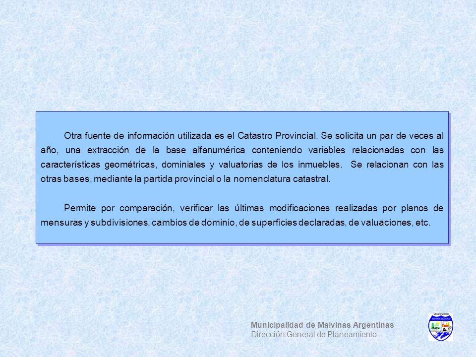 Municipalidad de Malvinas Argentinas Dirección General de Planeamiento Otra fuente de información utilizada es el Catastro Provincial. Se solicita un