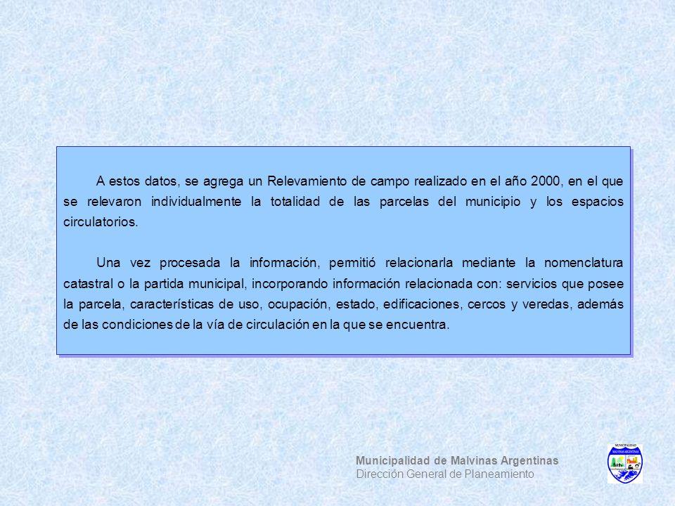 Municipalidad de Malvinas Argentinas Dirección General de Planeamiento A estos datos, se agrega un Relevamiento de campo realizado en el año 2000, en