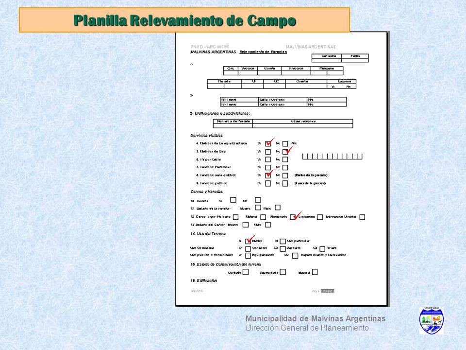 Planilla Relevamiento de Campo Municipalidad de Malvinas Argentinas Dirección General de Planeamiento