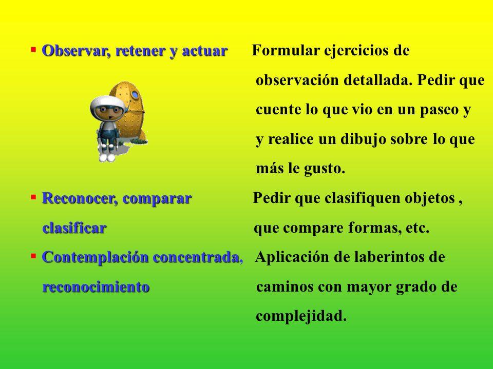 2.-ESTRATEGIAS PARA EL DESARROLLO INTELECTUAL Para oir, escuchar Para oir, escuchar Hablar en voz baja, estimular la escucha de sonidossonidos y pedir