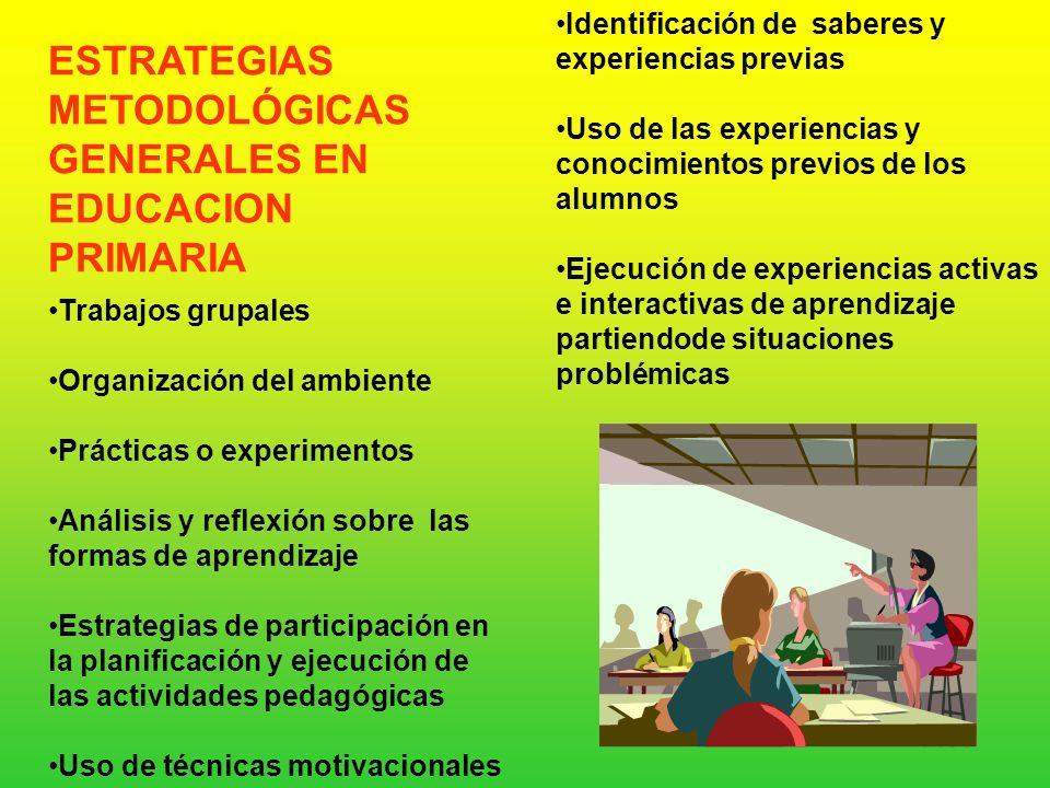 AREAS ESTRATEGIAS METODOLÓGICAS GENERALES ESTRATEGIAS METODOLÓGICAS ESPECÍFICAS