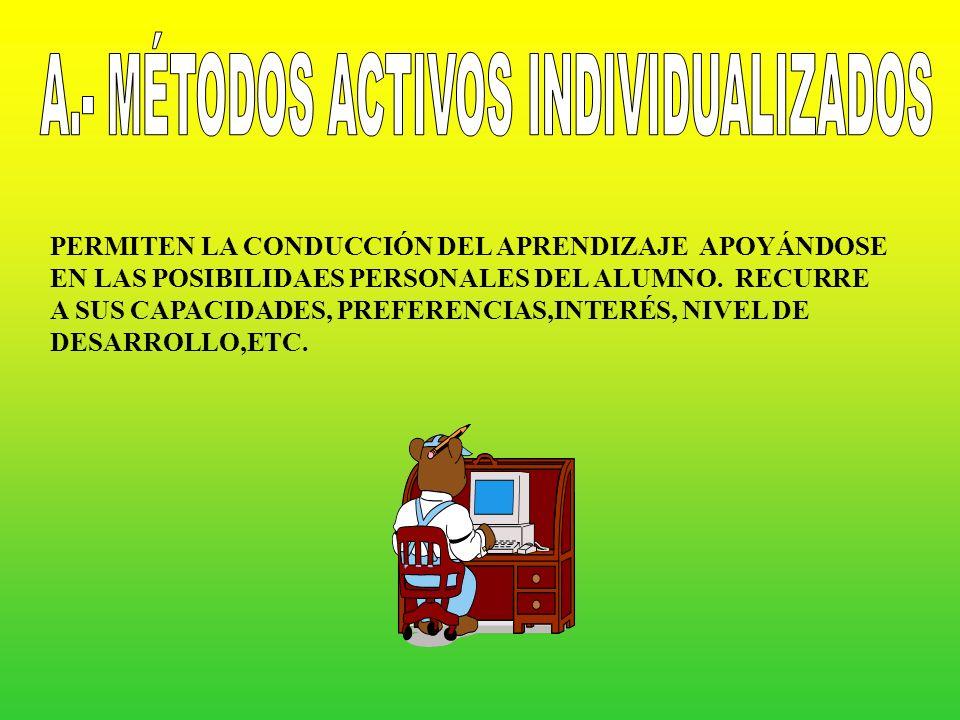 MÉTODOS ACTIVOS INDIVIDUA- LIZADOS COLECTIVOS ANALÍTICOS O GLOBALIZADOS