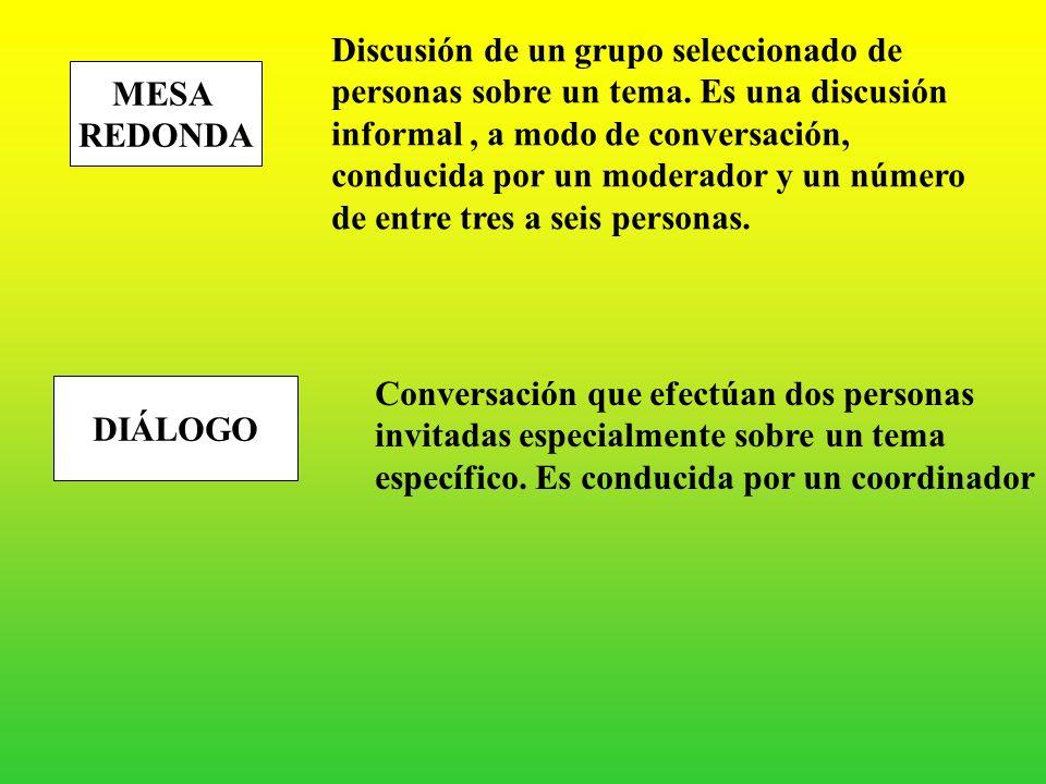 CONFERENCIA Disertación, exposición, charla expuesta de manera oral por una persona calificada sobre un tema de importancia o de interés PANEL Exposic