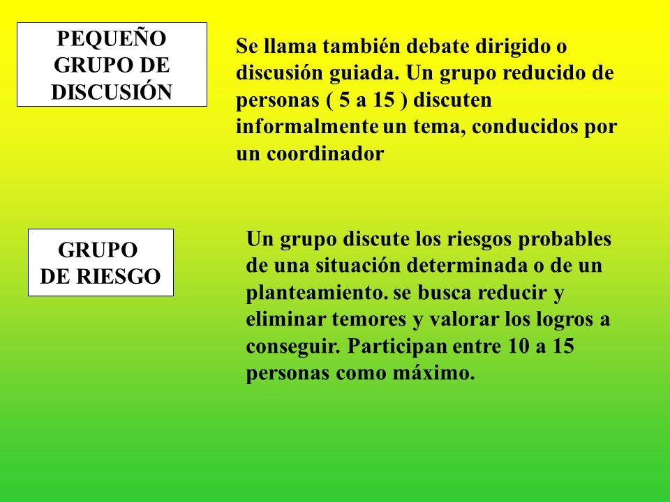 C.- TÉCNICAS DE DISCUSIÓN PEQUEÑO GRUPO DE DISCUSIÓN GRUPO DE RIESGO FORO SEMINARIO DE INVESTIGACIÓN GRUPO DE CUCHICHEO COMISIÓN LLUVIA DE IDEAS PHILL