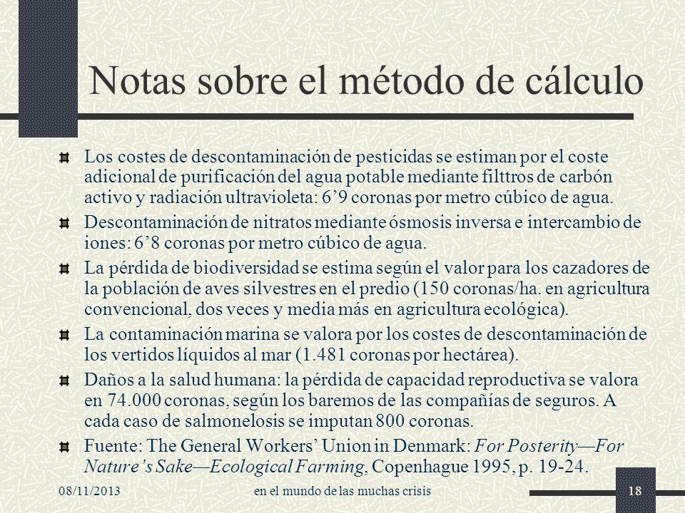 08/11/2013en el mundo de las muchas crisis18 Notas sobre el método de cálculo Los costes de descontaminación de pesticidas se estiman por el coste adi