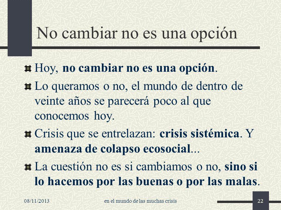 08/11/2013en el mundo de las muchas crisis22 No cambiar no es una opción Hoy, no cambiar no es una opción. Lo queramos o no, el mundo de dentro de vei