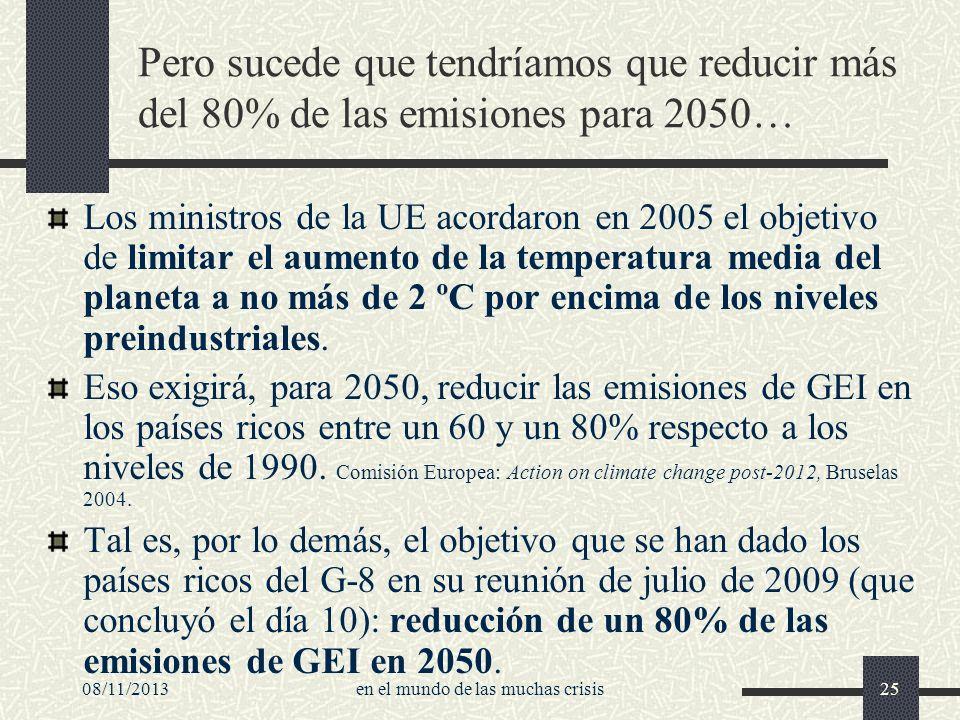 08/11/2013en el mundo de las muchas crisis25 Pero sucede que tendríamos que reducir más del 80% de las emisiones para 2050… Los ministros de la UE aco