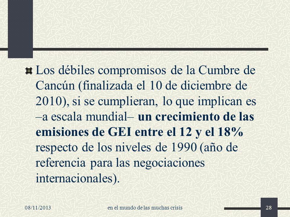 Los débiles compromisos de la Cumbre de Cancún (finalizada el 10 de diciembre de 2010), si se cumplieran, lo que implican es –a escala mundial– un cre