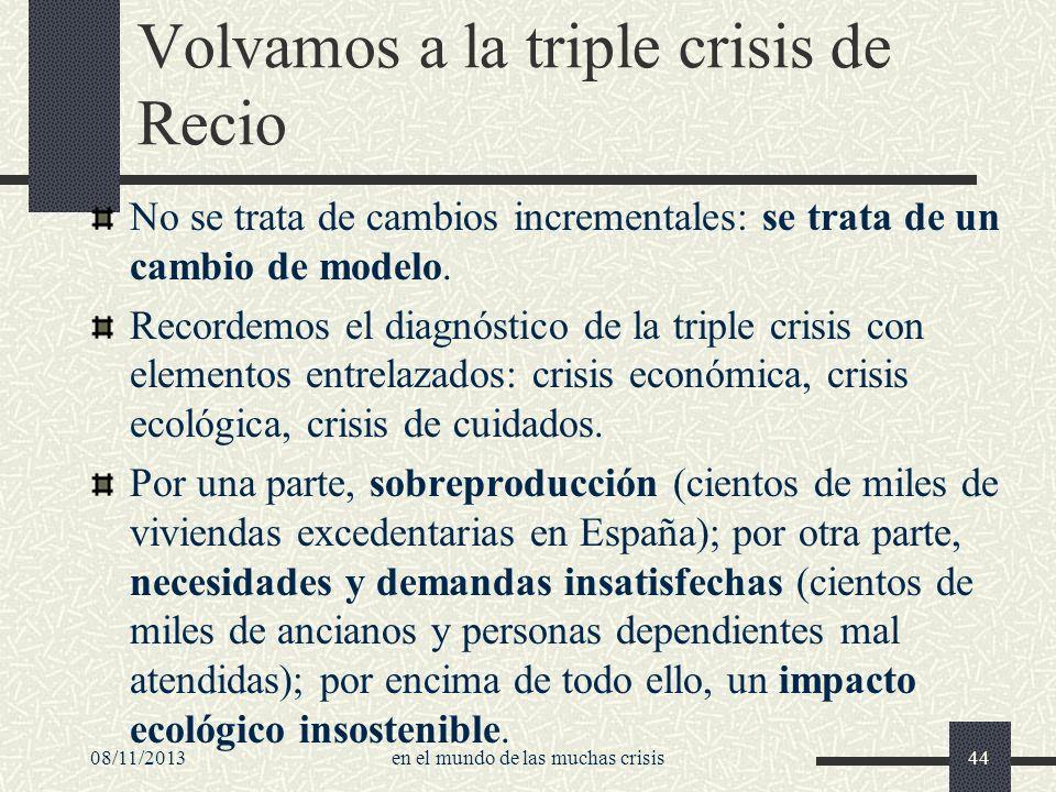 08/11/2013en el mundo de las muchas crisis44 Volvamos a la triple crisis de Recio No se trata de cambios incrementales: se trata de un cambio de model