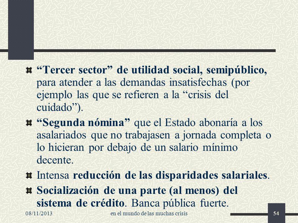 08/11/2013en el mundo de las muchas crisis54 Tercer sector de utilidad social, semipúblico, para atender a las demandas insatisfechas (por ejemplo las