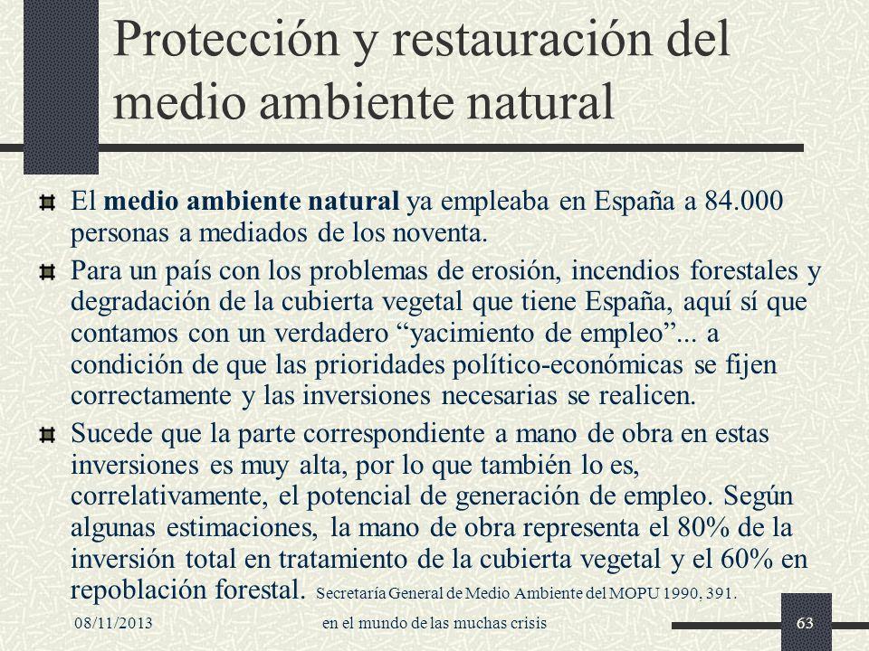 08/11/2013en el mundo de las muchas crisis63 Protección y restauración del medio ambiente natural El medio ambiente natural ya empleaba en España a 84