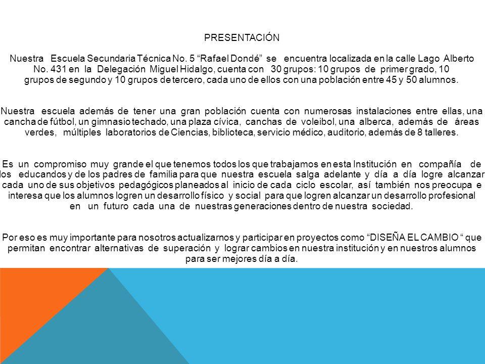 PRESENTACIÓN Nuestra Escuela Secundaria Técnica No. 5 Rafael Dondé se encuentra localizada en la calle Lago Alberto No. 431 en la Delegación Miguel Hi