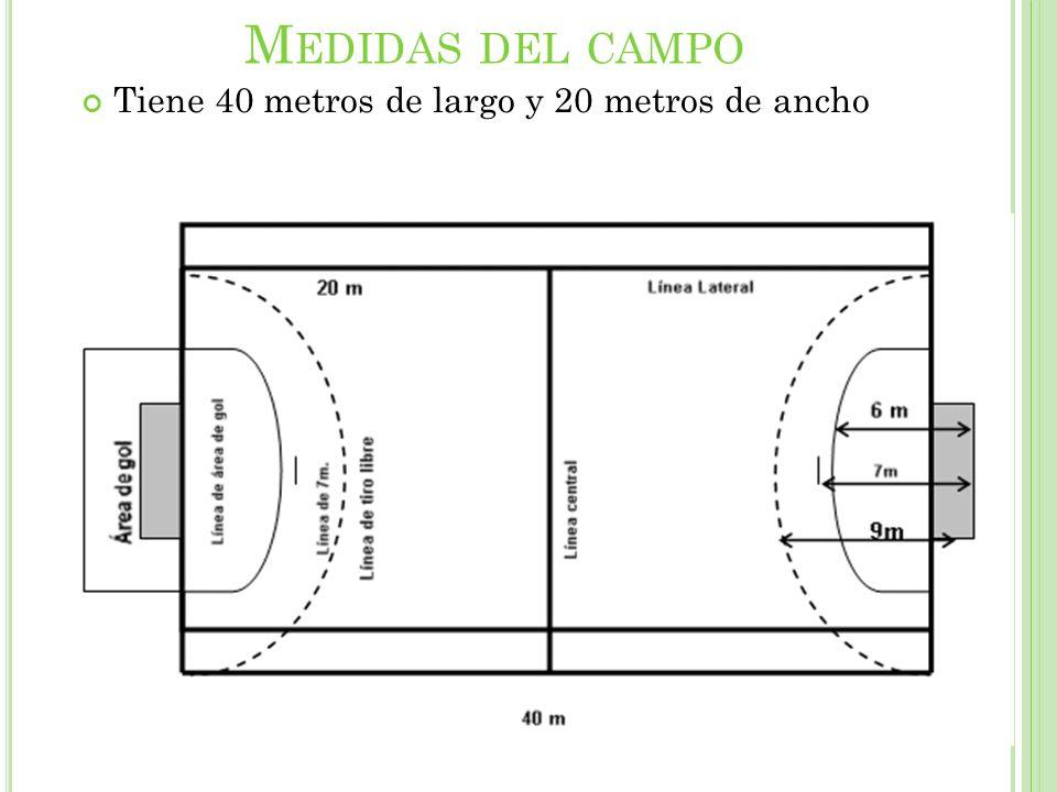 M EDIDAS DEL CAMPO Tiene 40 metros de largo y 20 metros de ancho