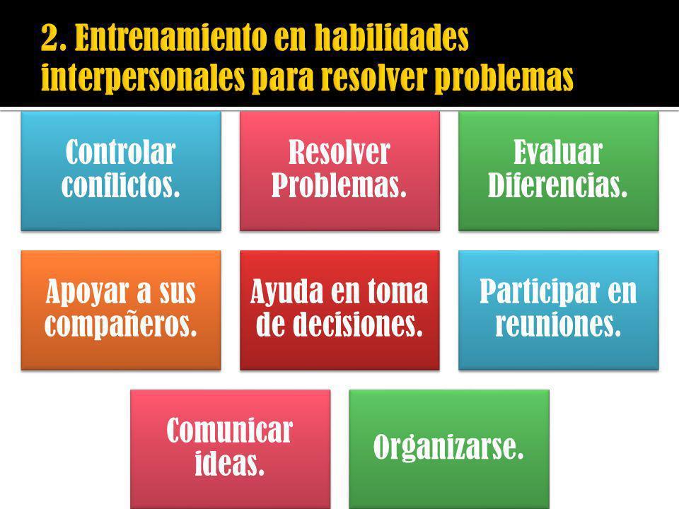 Controlar conflictos. Resolver Problemas. Evaluar Diferencias. Apoyar a sus compañeros. Ayuda en toma de decisiones. Participar en reuniones. Comunica