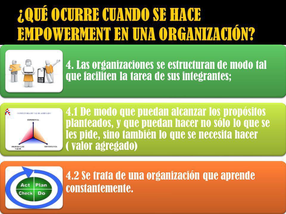 4. Las organizaciones se estructuran de modo tal que faciliten la tarea de sus integrantes; 4.1 De modo que puedan alcanzar los propósitos planteados,