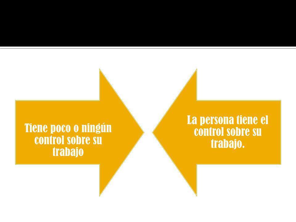 Tiene poco o ningún control sobre su trabajo La persona tiene el control sobre su trabajo.